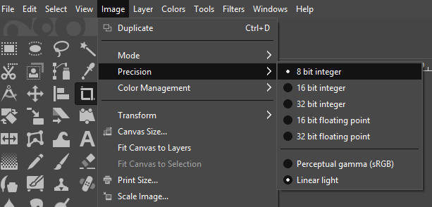 Setting the image precision in GIMP.